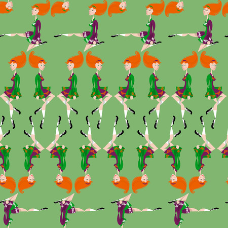 irish woman: Dancing Irish girl in traditional dress. St. Patricks Day. Seamless background pattern. Vector illustration
