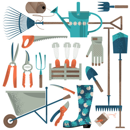 coiled: Set of various garden tools. Vector illustration