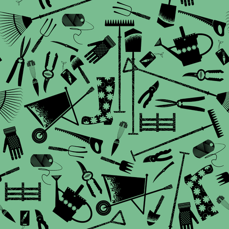 coiled rope: Set of various garden tools. Seamless background pattern. Vector illustration