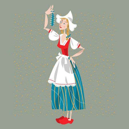 dutch girl: Dutch woman eating soused herring. Dutch tradition. Vector illustration. Illustration