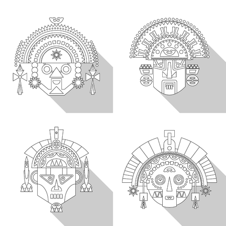 inca: Inca tribal masks. Black and white. Vector illustration