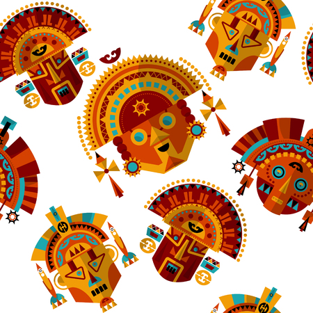inca: Inca tribal masks. Seamless background pattern. Vector illustration