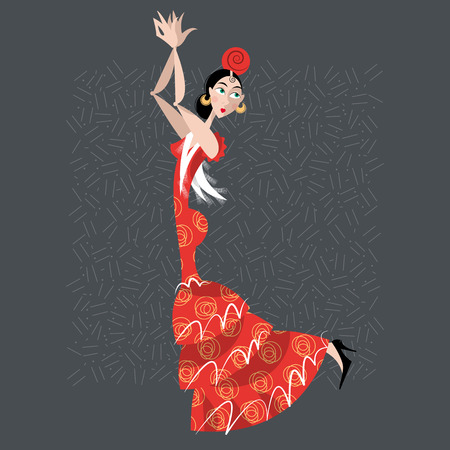 Young woman dancing flamenco. Spanish traditions. Vector illustration Illustration