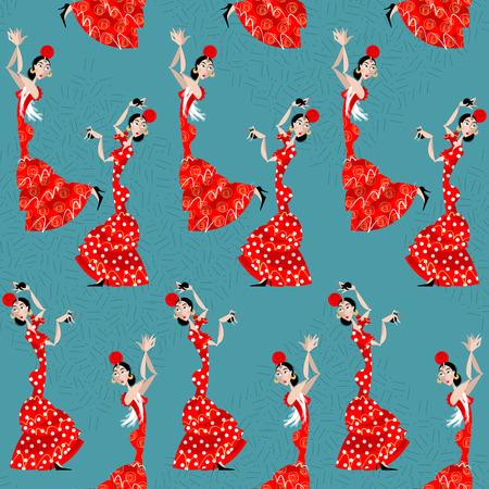 Flamenco dancer. Spanish traditions. Seamless background pattern. Vector illustration