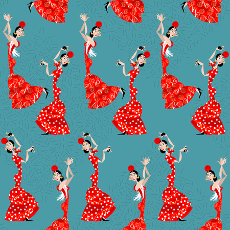 Flamenco dancer. Spanish traditions. Seamless background pattern. Vector illustration