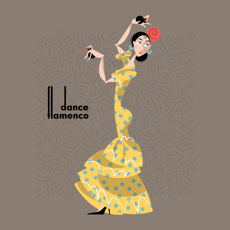 spanish culture: Young woman dancing flamenco. Spanish traditions. Vector illustration Illustration