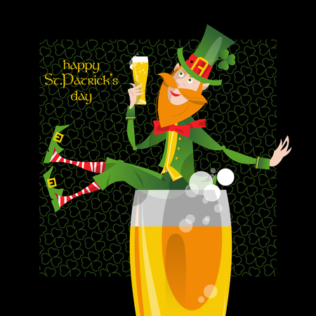 irish pub: Leprechaun with a beer. St. Patricks Day. Greeting card. Vector illustration