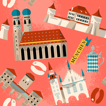 point of interest: Sights of Munich. Bavaria, Germany, Europe. Seamless background pattern. Vector illustration