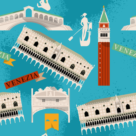venice italy: Sights of Venice. Italy, Europe. Seamless background pattern. Vector illustration Illustration