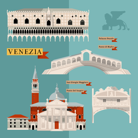 point of interest: Sights of Venice. Italy, Europe. Vector illustration