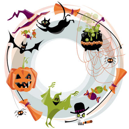 Tradional halloween wreath. Halloween elements. Broom, cauldron, cat, hat, bat, candy, ghost, spider, pumpkin, skull. Vector illustration