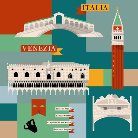 rialto: Sights of Venice. Italy, Europe. Vector illustration