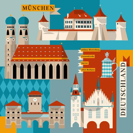 Sights of Munich. Bavaria, Germany, Europe. Vector illustration Vettoriali