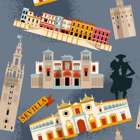 Bezienswaardigheden van Sevilla. Andalusië, Spanje, Europa. Naadloos patroon als achtergrond. Vector illustratie