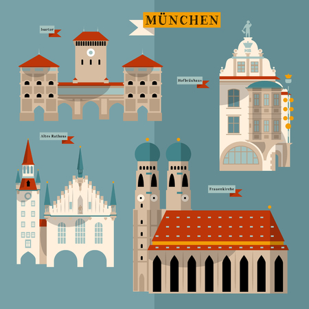Sights of Munich. Bavaria, Germany, Europe. Vector illustration Çizim
