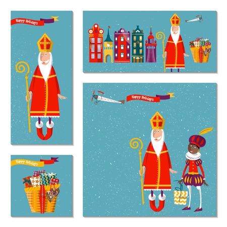 avion caricatura: Conjunto de 4 tarjetas universales con Sinterklaas y Zwarte Piet. Navidad en Holanda. Modelo. ilustraci�n vectorial