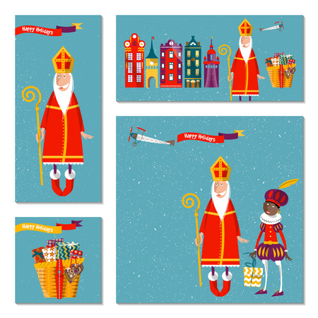 piet: Set of 4 universal cards with Sinterklaas and Zwarte Piet. Christmas in Holland. Template. Vector illustration