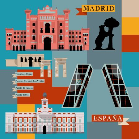 bullfighting: Sights of Madrid. Spain, Europe. Vector illustration Illustration