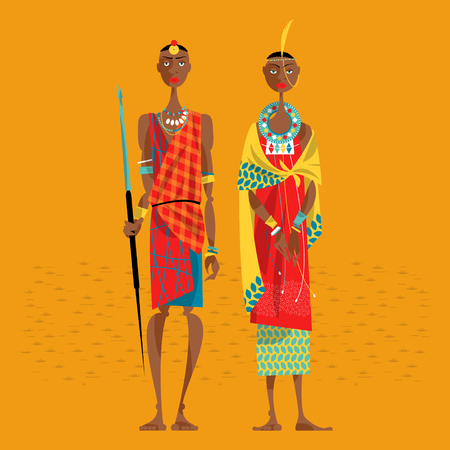 warriors: Maasai couple in traditional clothing. Vector illustration