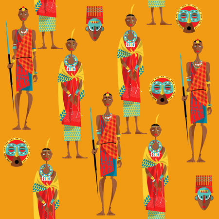 masai: Сouple of maasai in traditional dress. Seamless background pattern. Vector illustration