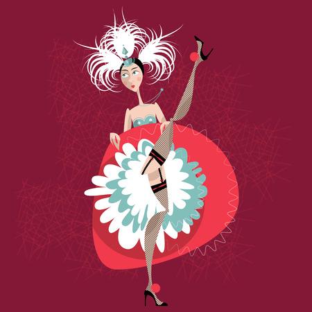 showgirl: French cancan dancer. Cabaret girl. Vector illustration