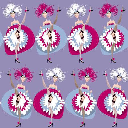 frances: bailarinas de cancán francés. Diseño de fondo transparente. ilustración vectorial