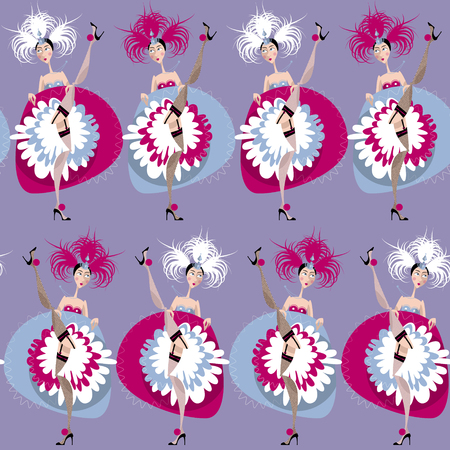 French cancan dancers. Seamless background pattern. Vector illustration
