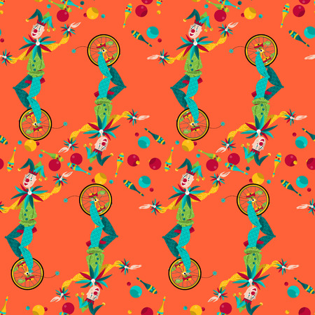 pranks: Clowns on unicycle juggling with balls and pins. Seamless background pattern. Vector illustration