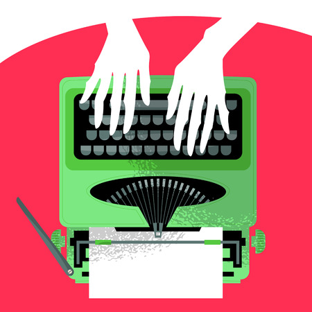 typewriter: Woman's hands typing on a vintage typewriter. Vector illustration Illustration