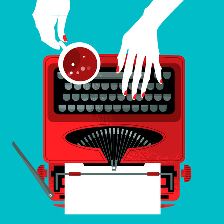 type writer: Woman typing on a vintage typewriter and holding a cup. Vector illustration
