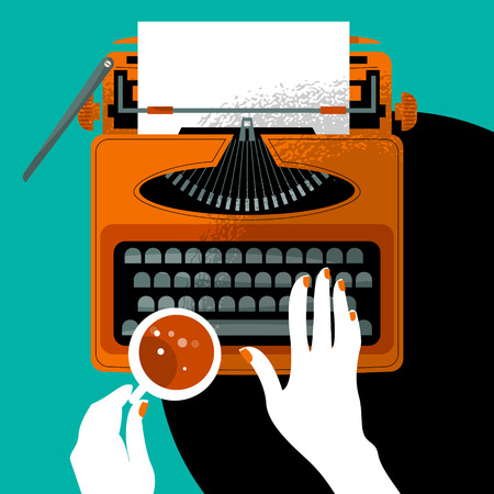 hand write: Woman typing on a vintage typewriter and holding a cup. Vector illustration
