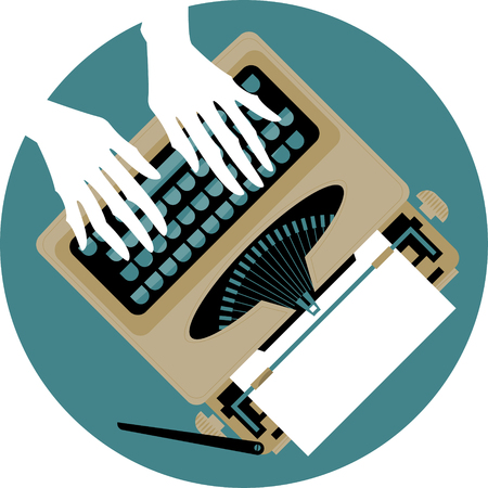 author: Woman's hands typing on a vintage typewriter. Vector illustration Illustration