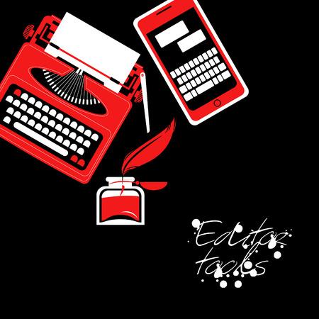 editor: Set of different editor tools. Vector illustration