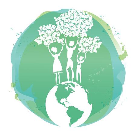 Family for green world. Vector illustration.