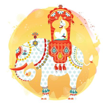 siluetas de elefantes: Elefante indio decorado con maharajá en la espalda. Ilustración del vector. Vectores