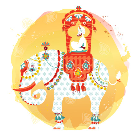Decorated indian elephant with maharaja on a back. Vector illustration.