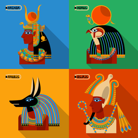 Egyptian gods. Hathor, Horus, Anubis, Osiris. Vector illustration Stock Illustratie