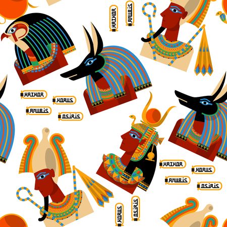 horus: Dioses egipcios. Hathor, Horus, Anubis, Osiris. Modelo incons�til del fondo. Ilustraci�n vectorial