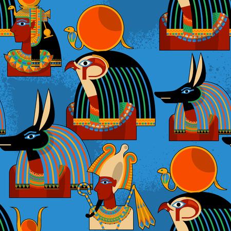 gods: Egyptian gods.  Hathor, Horus, Anubis, Osiris. Seamless background pattern. Vector illustration Illustration