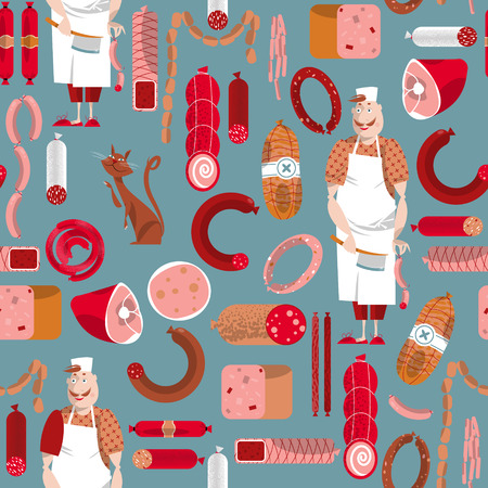 delicatessen: Meat market. Delicatessen. Butcher. Seamless background pattern. Vector illustration