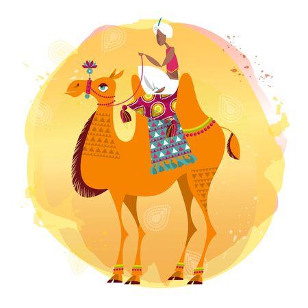 dromedary: Man sitting on a decorated camel. Vector illustration. Illustration