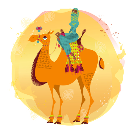 nomad: Arab woman sitting on a decorated camel. Vector illustration.