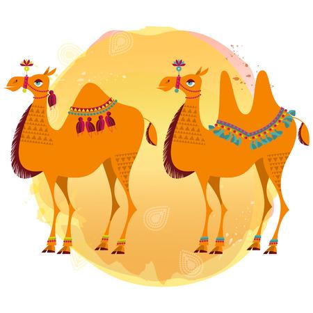 animales del zoologico: Dos camellos con decoraci�n tradicional. Ilustraci�n del vector.