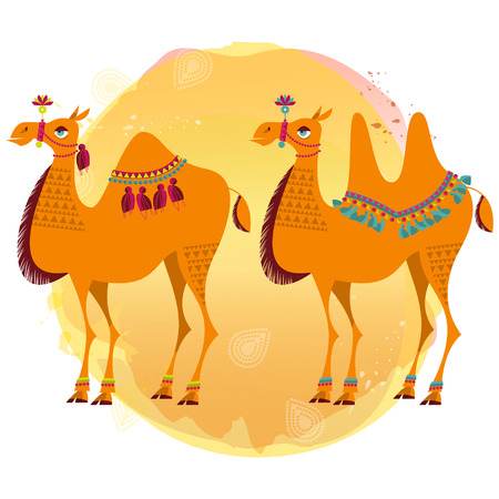 animal cartoon: Two camels with traditional decoration. Vector illustration.