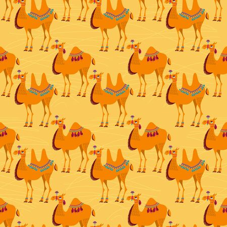 nomad: Camels with traditional decoration. Seamless background pattern.  Illustration