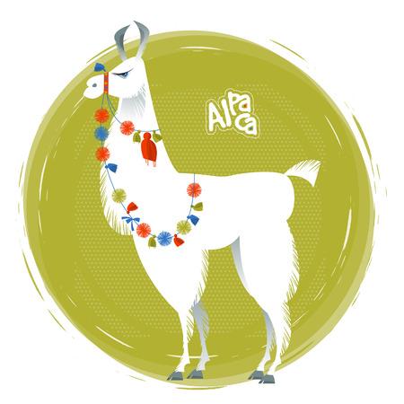 pompon: Cute lama Alpaca. Animal illustration.