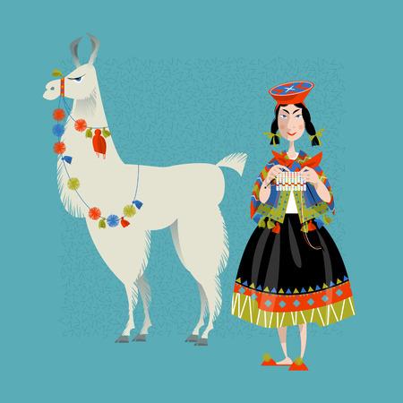 Lama Alpaca y tejer mujer peruana. Ilustración de vector