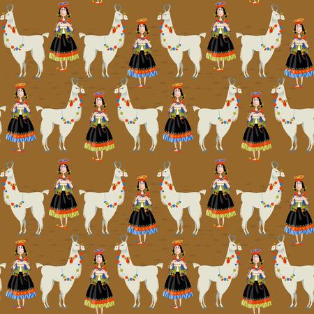 peruvian: Lama Alpaca and knitting Peruvian woman. Seamless background pattern.  Illustration