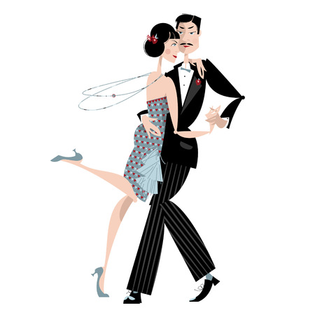 Dancing couple. Art deco. Retro tango.  Illustration