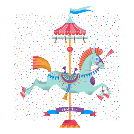 Greeting card with vintage carousel horse.  Illustration